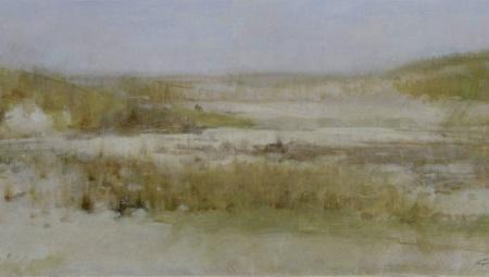 Beach Grasses #1, 2016 Oil on cardboard, 6 x 13 in. $2900 Framed