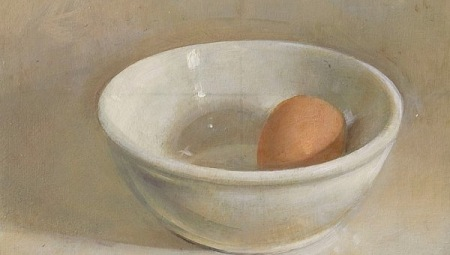 Egg and White Bowl, 2006  Oil on wood panel, 7 x 8 3/4 in. $3,200