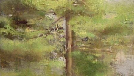 Pines, Spring, 2008, oil on linen, 12 x 9 in. $3,000