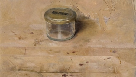 Small Studio Jar, 2008<br />Oil on board, 13 x 8.5 in.<br />$4,500