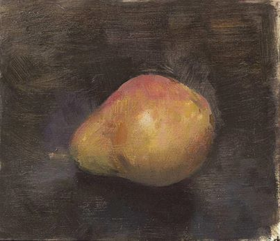 Christopher Gallego, American, b. 1959, red bartlett pear, 2006, Oil on board, 4 x 5 in., Sold