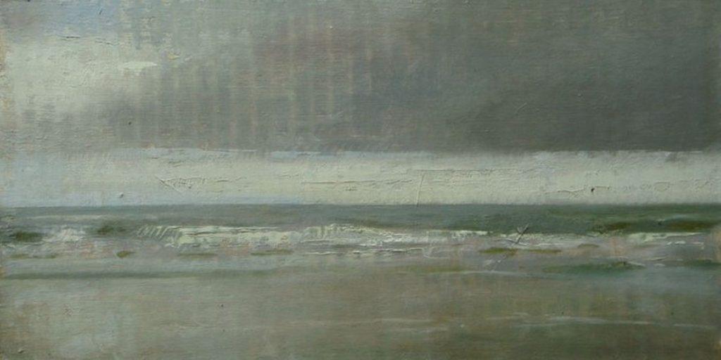 Christopher Gallego, American, b. 1959, ocean city beach #2, 2012, Oil on cardboard, 6 x 13 in., Sold
