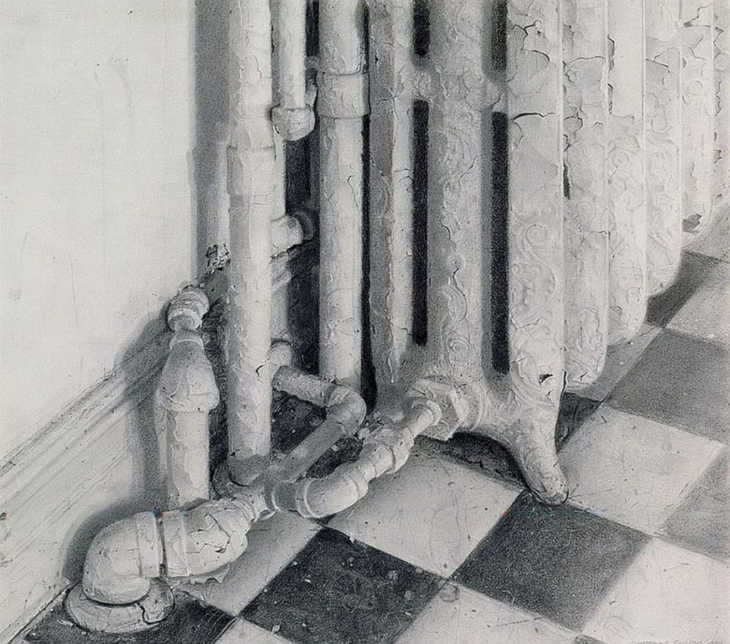 Christopher Gallego, American, b. 1959, Kitchen Radiator, 2006, oil on board, 6 x 13 in..